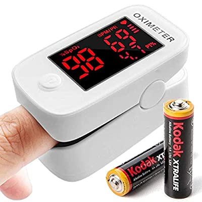 Pulse Oximeter, Oxygen Monitor Finger Heart Rate Monitor SpO2 Blood Oxygen Saturation Monitor for Adult NHS Approved, with Batteries