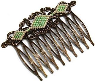 Pettine perline rombo giapponese verde luminoso beige ottone bronzo accessorio capelli regalo di nozze personalizzato noel...