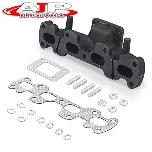 AJP Distributors T3/T4 Cast Iron Turbo Header Exhaust Manifold Kit Compatible/Replacement For Mazda Miata MX-5 NA NB MX5 1.8 1994 1995 1996 1997 1998 1999 2000 2001 94 95 96 97 98 99 00 01 02 03 04 05