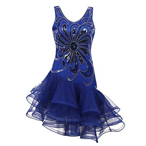 Alvivi Damen Tanzkleid Pailletten Kleider Latein Rumba Cha Cha Tango Samba BallKleid Gymnastikanzug Tanz Party Karneval Kostüm Kleid Blau M