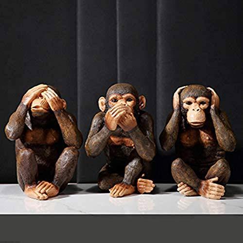 NanXi Escultura Estatua Crafts Europea Estatua Tres Monos sabios Estatua Ver No No escuche Do no Decir Escultura del Mono Artes Feria de Artesanía Decoración Pórtico Combinación,3pcs