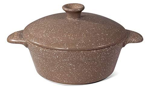 TOPGRES Pentola a induzione Ø 27 cm 2 Manici H 11 cm in Ceramica GRES Marrone Effetto Pietra con Coperchio