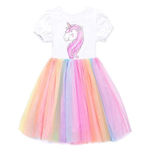 JerrisApparel Blume Mädchen Regenbogen Tutu Kleid Einhorn Party Rock Outfit (6 Jahre, Einhorn)