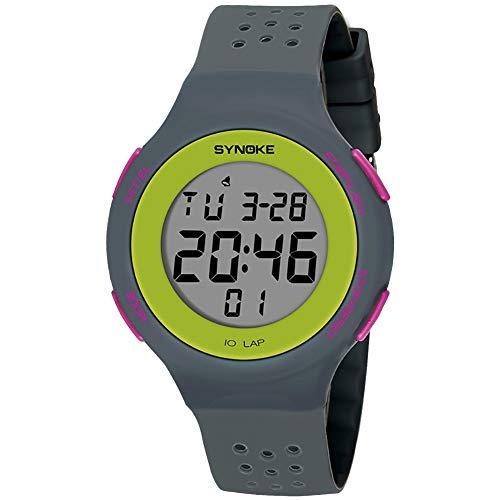 Populares Marca Luxur yFashion Deporte Hombres Mujeres Impermeable Alarma Fecha Cronómetro Regalo del Reloj de Pulsera Digital (Color : Grey)