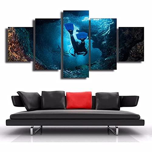 Mural Moderno 5 Piezas Deportes De Buceo En El Mar Art Imagen para Decoración del Hogar 5 Piezas Pinturas Moderna Enmarcado Arte