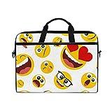 JOYPRINT Laptop Sleeve Case, Funny Emoji Emotion Pattern 14-14.5 inch Briefcase Messenger Notebook Computer Bag with Shoulder Strap Handle for Men Women Boy Girls
