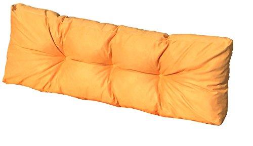 Cuscino Spalliera per Bancale 120x42x10-18 cm - Cuscini per Schienale Divano pallet di legno - COLORE GIALLO ARANCIATO
