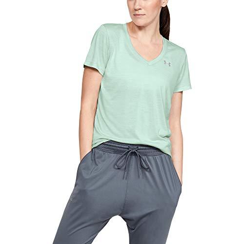 Under Armour T-shirt Tech à Manches Courtes pour Femme en Tissu Stretch 4 directions, Ultra Léger et Respirant, Vert (Atlas Green/Metallic Silver (189)), XS