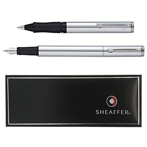 Sheaffer Set Award - Pluma estilográfica de cromo cepillado y bolígrafo en caja de regalo