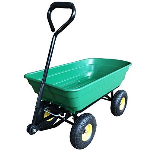 HOMCOM 75 Litre Garden Cart Heavy Duty 4 Wheel
