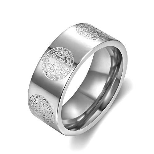BOBIJOO JEWELRY - Anillo Anillo de la Alianza de la Medalla de San Benito el Matrimonio de Protección de Exorcismo 316L de Acero Inoxidable de 8mm - 24 (11 US), Acero Inoxidable 316