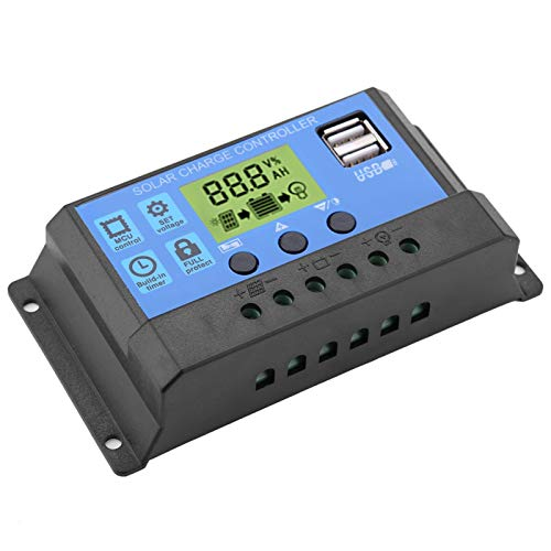 Controlador solar, controlador de cargador solar con pantalla LCD de retroiluminación, protección de corriente de 12 V / 24 V 10/20 / 30A para regulación de carga(YJSS-10A)