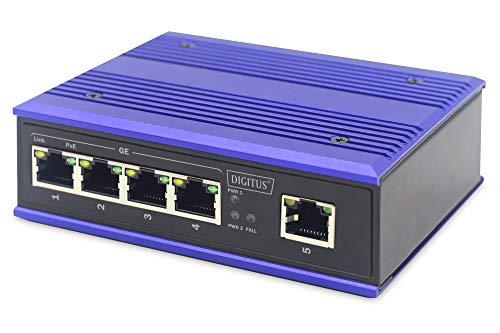 DIGITUS PoE Netzwerk-Switch - 5-Port Gigabit Ethernet - DIN-Rail Montage - Klemmleiste - Lüfterlos - Schwarz/Blau