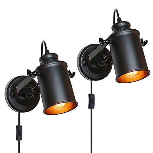 Ascelina - Aplique de pared vintage con interruptor, proyector de techo industrial negro retro LED aplique de pared ajustable de metal, foco E27 base bombilla (paquete de 2)