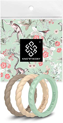 Knot Theory Kindness 3-Pack Silicone Rings for Women - Thin Beige Seafoam Taupe Braided Stackable Rubber Wedding Bands Set Size 6 - Mother Daughter Bridal Shower Promise Gift Rings Guard Stopper