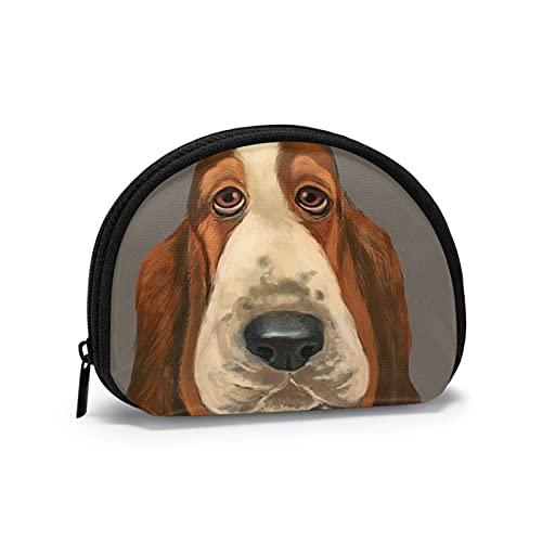 Divertido Basset Hound perro boca hinchado impreso temático cambio monedero lindo Shell...