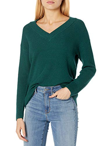 Amazon Brand - Goodthreads Women's Everyday Soft Blend Thermal Long Sleeve V-Neck Sweater, Pine Heather Marl, Medium