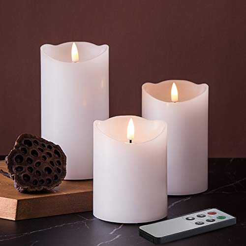 Eywamage White Flickering Flameless Candles with Remote, Realistic LED Fake Candles Battery Operated Set of 3, D 3' H 4' 5' 6'