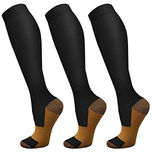 Copper Compression Socks for Women & Men 3 Pairs 20-30