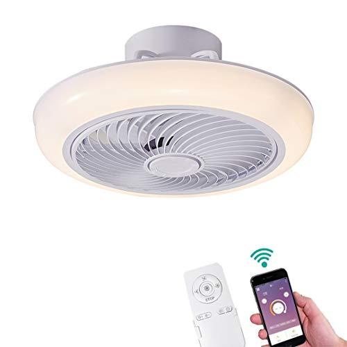YUNZI Deckenventilatoren mit Beleuchtung LED Lichter App und Fernbedienung Dimmbar Deckenventilator Unsichtbar Dimmlampe für die Küche Wohnzimmer Schlafzimmer Licht, mit Windschutz