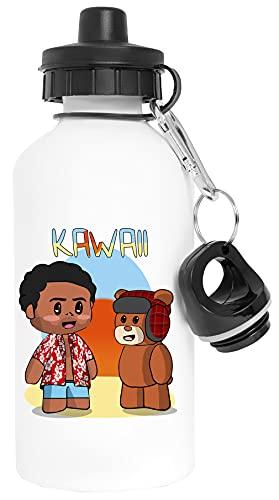 Kawaii Aluminio Blanco Botella de Agua Con Tapón de Rosca Aluminium White Water Bottle With Screw Cap