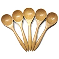 """Wooden Utensil 5 Wood Ladle Soup Spoon 6"""" Medieval set Kitchen Accessory Thailand Handcraft"""