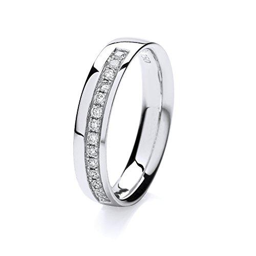 18ct White Gold 1mm Slight Court Comfort Half Eternity Diamond Wedding Band/Ring Brilliant Cut 0.16 Carat HI - SI WJS1502318KW