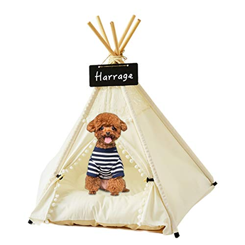 Harrage Pet Teepee for Small Dog & Cat, Folding Indoor Dogs & Cats Tent, Outdoor Portable 24inch Cute Puppy Tents with Luxurious Cushion Tipi Bed(White)