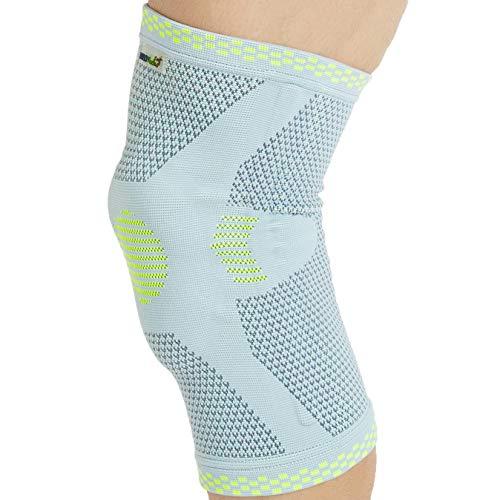 Neotech Care Kniebandage (1 Einheit) mit Patella-Silikonring - flexibles Federscharnier - leichter, elastischer & atmungsaktiver Stoff - Männer, Frauen - rechts oder links tragbar - Grau (L)