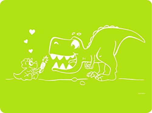 Dinomio Silikon Tischset für Kinder mit Dinosaurier hellgrün - rutschfest und abwischbar, 40 x 30 cm