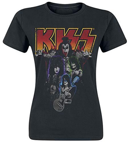 KISS Band-Photo Mujer Camiseta Negro L, 100% algodón, Regular