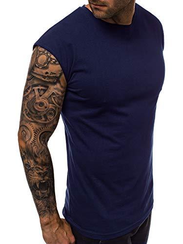 MOODOZ Herren Tank Top Tanktop Tankshirt Ärmellos Bodybuilding Shirt Unterhemd T-Shirt Tshirt Tee Muskelshirt Achselshirt Trägershirt Ärmellose Training Sport Fitness O/01265 DUNKELBLAU L