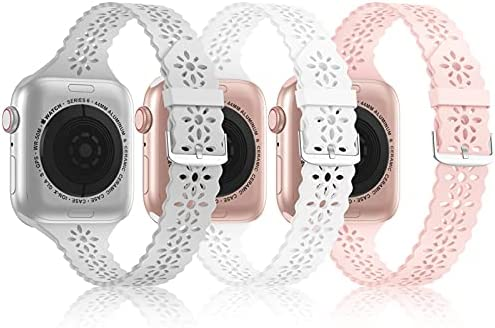 [3Pack]Bandiction Slim Lace Band Compatible With Apple Watch Bands 38mm 40mm 41mm 42mm 44mm 45mm for Women, Silicone Wristbands Strap Replacement for iWatch Series7/6/5/4/3/2/1/SE