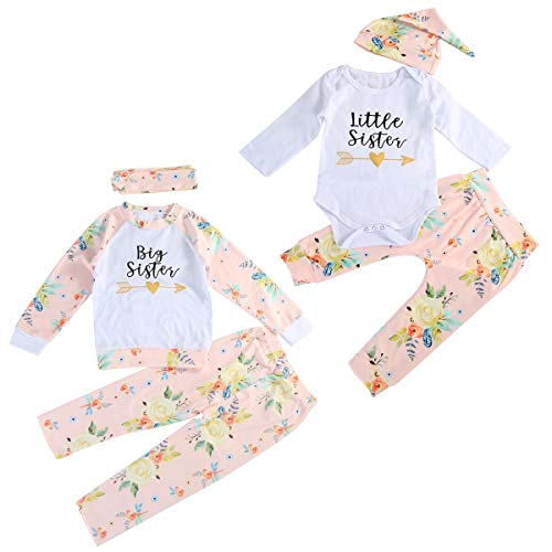 Puseky Baby Mädchen große kleine Schwester passende Outfits Floral Shirt Tops + Hosen + Stirnband/Hut Kleidung Set (Color : White, Size : Big-4Y-5Y)