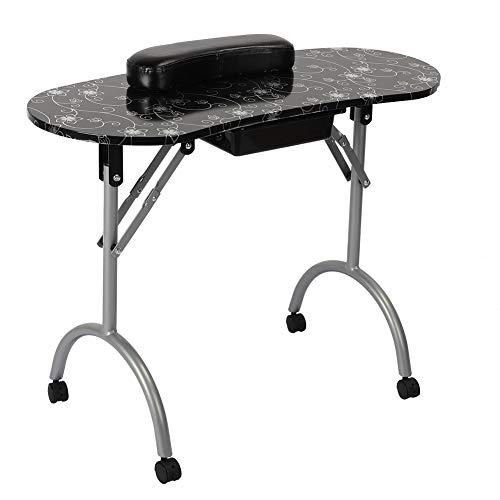 Mesa de uñas de manicura, estación móvil plegable para uñas con 4 ruedas, escritorio de técnico de belleza portátil para manicura con cajón extraíble (negro)