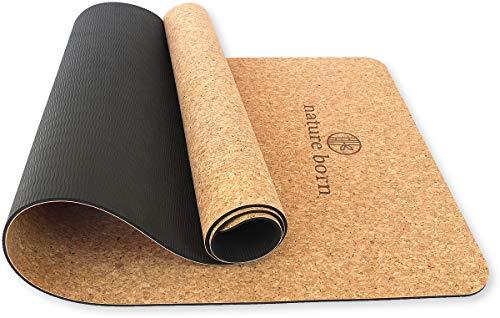 nature born Yoga-Matte aus Kork & Naturkautschuk (183 x 66 x 0,5 cm) - Kork-Matte mit Tragegurt - 100% umweltfreundlich - rutschfest & schadstofffrei - Pilates Gymnastik Training Meditation