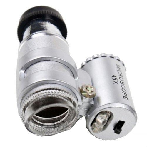 45X Mini Pocket Microscope Magnifier LED Jeweler Loupe