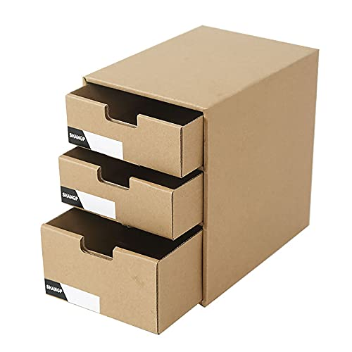 Caja De Cajón De Papel Kraft Tipo De Cajón Almacenamiento De Suministros De Oficina para Libros De Archivo Y Caja De Almacenamiento De Papelería Adecuada,A