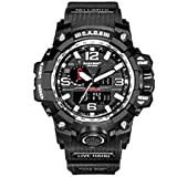CAOS Mens Digital Sports Watch with LED Screen - Silver Face, Black Strap, Dual Time Display - Tactical Military Watches for Men - Perfect for Outdoor Fitness and Gym