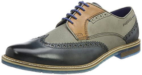 bugatti 312259041111, Scarpe Stringate Derby Uomo, Blu (Dark Blue/Grey 4115), 43 EU