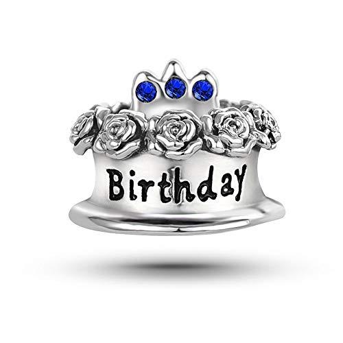 KunBead Happy Birthday Cake Blue Crystal Candle Charms Big Sis Lil Sis Sister September Birthstone Charms