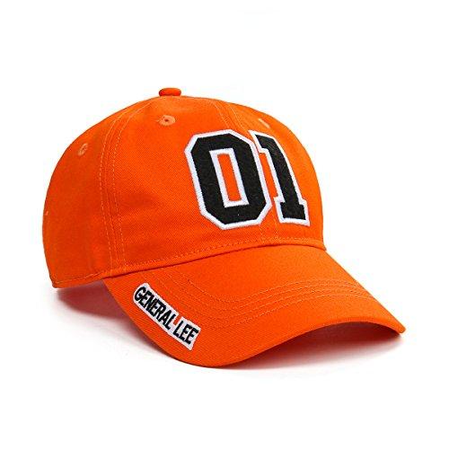 Nofonda Unisex General Lee Good OL' Boy Cap, Baseball Mütze gesticktes Logo 01 Snapback Hut Cosplay Kostüm Zubehör - Orange