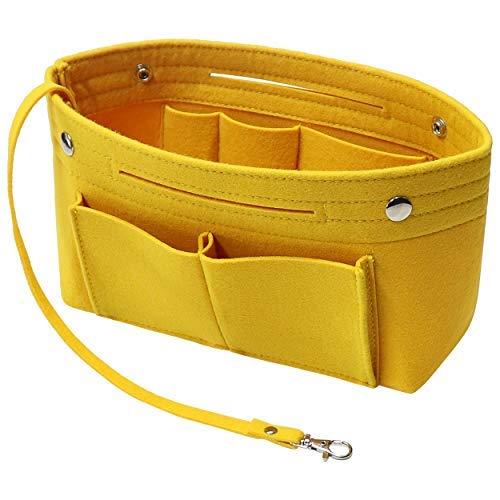 Soyizom Filz Handtasche Organizer Bag in Bag,Innentaschen Handtaschenordner Organizer mit Schlüsselkette für Speedy Neverfull,8 Farben (Gelb,Klein)