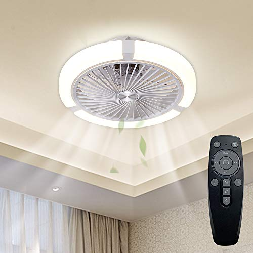 IYUNXI Moderner Deckenventilator mit Licht, Fernbedienung, Stufenlosem Dimmen und Farbanpassung,Geschlossener Leiser Deckenventilator, 3Windgeschwindigkeiten einstellbar, Kinderzimmer, Küche
