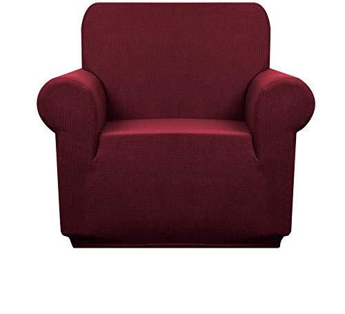 Pillowcase Premuim Wasserabweisende Sesselbezüge 1 Stück Stretch Chair Schonbezug für Wohnzimmer Rutschfester Stuhl Protector Jacquard Sofabezug (Wine Red, 4-Sitzer/Sofa)