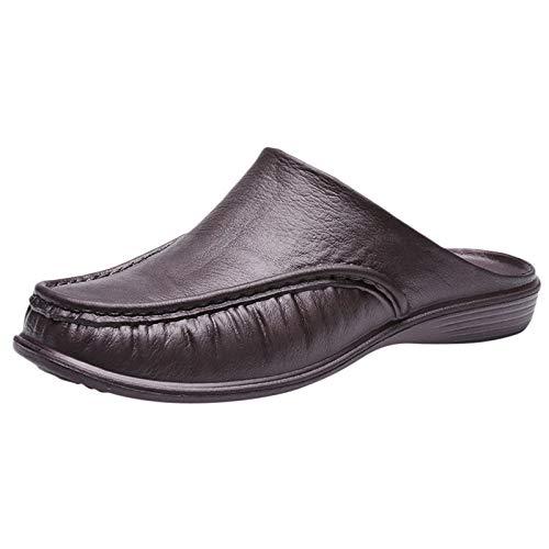 Hausschuhe Herren Lässige Retro Strand Sliper Mode Gut aussehend Leder Pantoletten Einfach Einfarbige Flache Schlappen Bequeme Atmungsaktiv Anti-Rutsch Outdoorsandalen