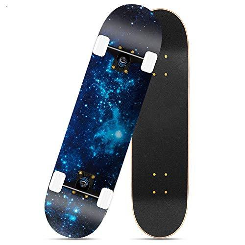 Asdfax Skateboard débutant Monopatín con rodamiento ABEC-7 (80 x 24 cm, Arce de 7 Capas) Apto para Patinadores en Todas Las etapas-Segundo