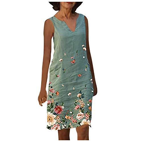 Zzbeans Sommerkleid Damen Knielang, V-Ausschnitt Übergröße Damen Kleider Sommer Kleidung für Damen Ärmelloses Kleid Blumendruck Vintage Kleid A Linie Knielang Damen