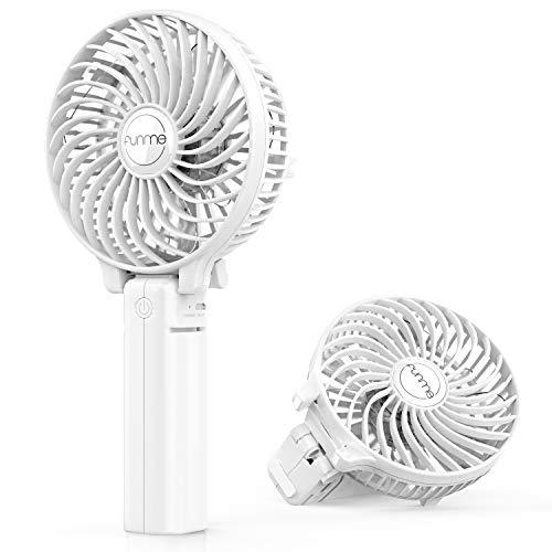 FUNME Handventilator met Oplaadbare 2600mAh-batterij Stille USB ventilator 3 Snelheden Persoonlijke Draagbare Opvouwbare Kleine Ventilator voor Kantoorreizen Home Outdoor, Wit