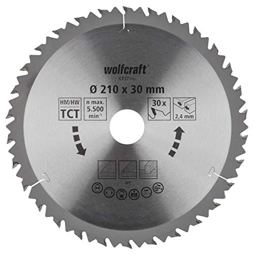 Wolfcraft 6737000 6737000-1 Hoja de Sierra Circular HM, 30 dient, Serie marrón diam. 210 x 30 x 2,4 mm, 210x30x2.4mm